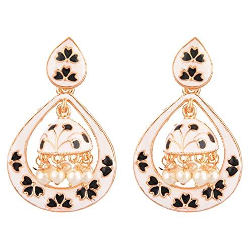 Efulgenz Indian Jewellery Bollywood - Juego de pendientes colgantes de perlas de imitación antiguas, diseño floral, Cobre, desconocido,