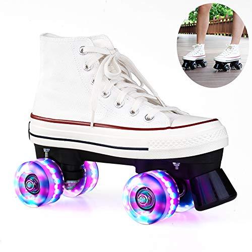 Rollschuhe für Damen und Herren, Discoroller Erwachsene komfortable LED Rollerskates Quad Skating Outdoor für Mädchen und Jungen,Weiß,39 WOERD