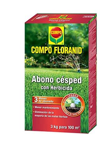 COMPO FLORANID Abono césped con herbicida. Larga duración de hasta 3 meses, para 100 m², 3 kg
