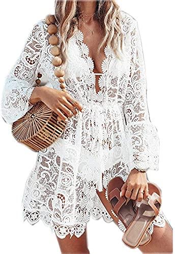 LATH.PIN Vestido de playa sexy para mujer, cuello de pico, para verano, pareos, elegante camiseta de playa, Blanco, XL