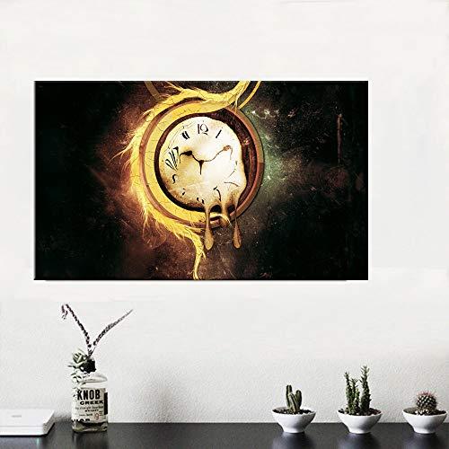 hetingyue Leinwandmalerei Surrealismus abstrakte Malzeit Retro Kunst Plakat Bild Hauptdekoration rahmenlose Malerei 40x65cm