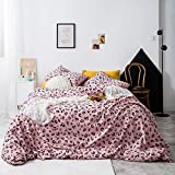 YuHeGuoJi 3 Pieces Duvet Cover Set 100% Cotton Queen Size Pink Leopard Cheetah Print Bedding Set 1 Animal Pattern Duvet Cover with Zipper Ties 2 Pillowcases Luxury Quality Soft Lightweight Breathable