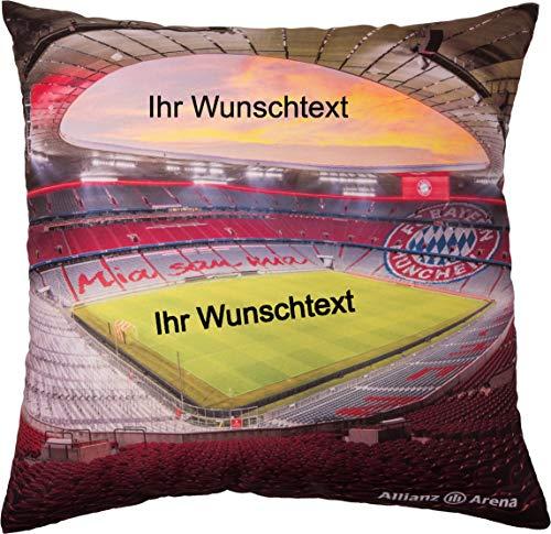 FC Bayern München Kissen Allianz Arena mit Ihrem persönlichem Wunschtext in Wunschfarbe