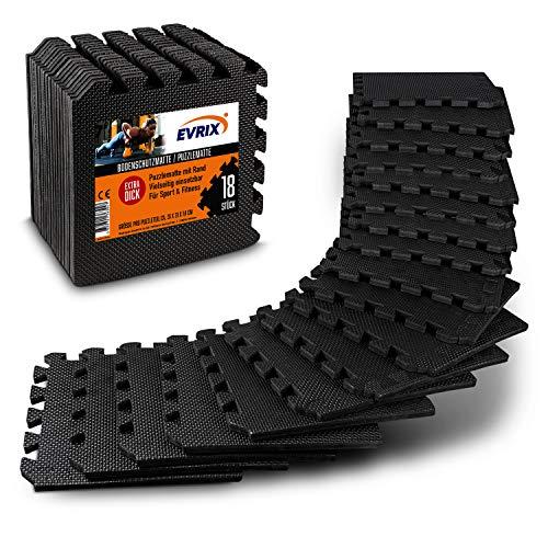 EVRIX ® Bodenschutzmatte – Bodenschutzmatte Fitnessgerät in [18] trennbaren Teilen – ideale Unterlage mit erhöhter Dicke – individuell größenanpassbar (Schwarz)