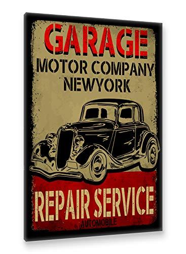 Postereck - Premium Leinwand - 2046 - Vintage Plakat, Auto Schild Retro alt Werkstatt Wagen - Größe 35,0 cm x 25,0 cm