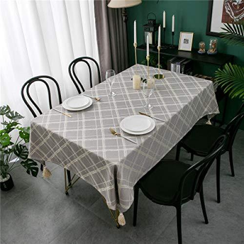 Mantel Impermeable De Poliéster Simple Moderno Teñido En Hilo De Jacquard A Cuadros con Borlas Y Picos Mantel Rectangular Multifuncional