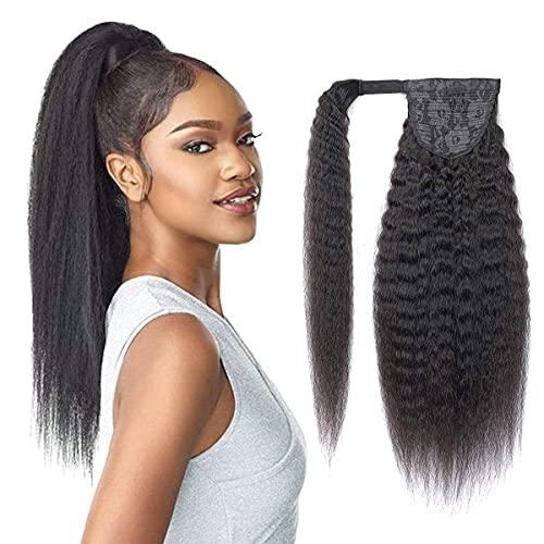 Seelaak Yaki Kinky Straight Human Hair Wrap Around Ponytail Hair Piece with Clips Magic Paste Binding Pony Tail...