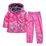 WWZ Chichidog - Chubasquero y pantalones para niñas a prueba de viento e impermeable con capucha para nieve y lluvia Chaquetas con pantalones