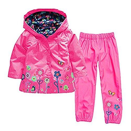 WWZ Kids Meisjes Regenjas & Broek Pak Winddicht en Waterdichte Hooded Jas Sneeuw & Regenkleding Jassen Bovenkleding met Broek