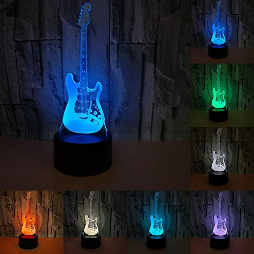 RUMOCOVO® Creativa 3D Guitarra Eléctrica Modelo Illusion 3d Lámpara LED 7 Colores...