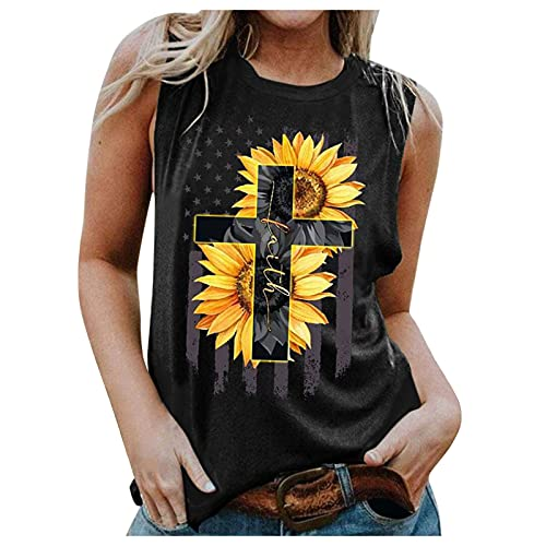 Camiseta de verano de manga corta para mujer, diseño de girasoles, cuello redondo, informal, suelta, para adolescentes, niñas, verano, de manga corta, parte superior de té, casual, sueltas A01 L