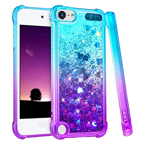 iPod Touch 5 6 7 Case, iPod Touch Case 5th 6th 7th Generation for Girls, Ruky Gradient Quicksand Series Glitter Flowing Liquid Floating Flexible TPU Cute Case for iPod Touch 5 6 7 (Teal Purple)