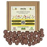 FREEING WELLBEING – Bolas de bombas de semillas de abeja y mariposa – Caja de mezcla de semillas de jardín de flores silvestres nativas del Reino Unido