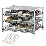3 Etagen Gewürzregal ausziehbarer Gewürzständer für 30 Gewürze Küchen Organizer Silber