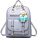 Backpack Purse for Women Large Capacity Leather Shoulder Bags Cute Mini Backpack for Girls,Grey