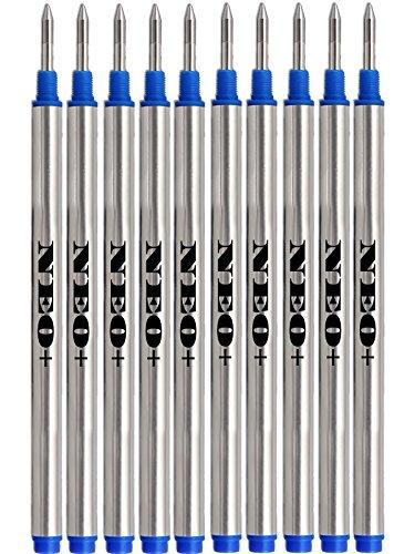 10 x Ricariche per penna che si adattano alla penna roller Montblanc. Penne per linee solitarie: Noblesse, generazione, scenium, Bohème, classic e Starwalker (10 x BLU)