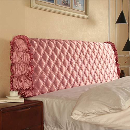 JYSSH Cubierta de Cabecera de Cama Elástica Cubierta de Cabecera, Funda de Respaldo de Color Puro, Funda de Cabecera Todo Incluido para Decoración de Dormitorio,Pink-210cm