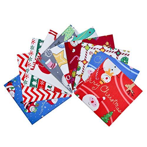 KATELUO 10 Piezas Tela Algodon Telas Patchwork, Tela Manualidades Navidad, Telas de Algodón de Estampada para Tela Patchwork Diy (25 * 25CM)