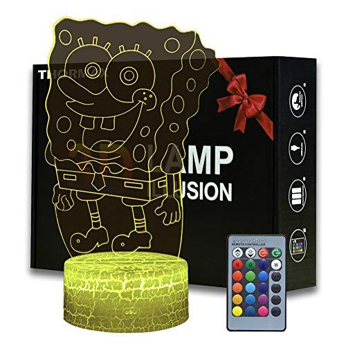 THORMAX Lámpara LED 3D Ilusión Bob Esponja Squarepants con luz nocturna de dibujos animados con control remoto, decoración de dormitorio de niños, iluminación creativa para niños y fans de Bob Esponja