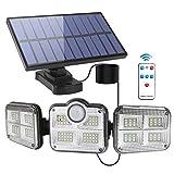 Luz Solar Exterior Interior,Foco Solar Exterior con Sensor de Movimiento,Lámpara Solar con 3 Cabezales Ajustables 270ºlluminación,IP65 Impermeable Luces Solares con Control Remoto y Cable de 16.5 pies