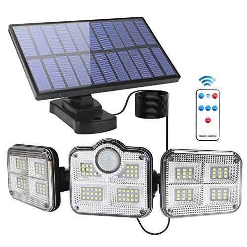 Luz Solar Exterior Interior - Foco Solar LED Exterior con Sensor de Movimiento: Luces Solares 3 Cabezales Ajustables 270° lluminación Impermeable Lámpara Solar con Control Remoto & Cable de 16.5 pies
