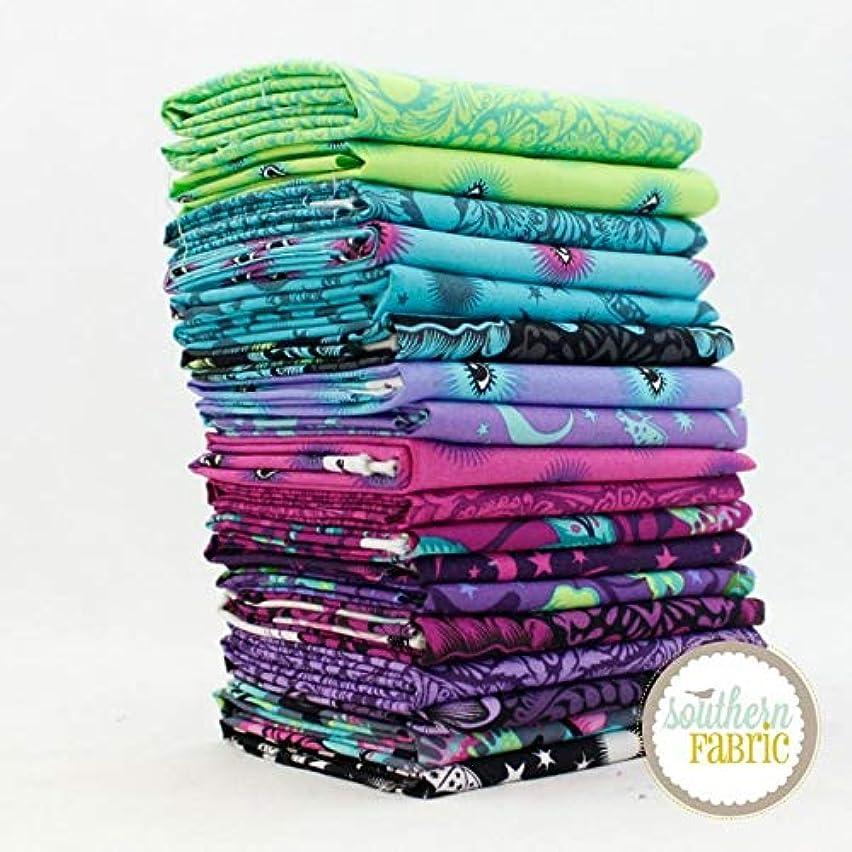 Free Spirit De La Luna Fat Eighth Bundle (18 pcs) Tula Pink 9 x 21 inches (22.86cm x 53.34cm) Fabric cuts DIY Quilt Fabric