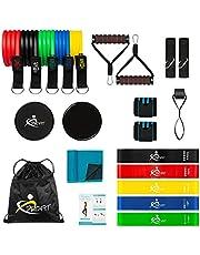 AIH Profit Resistance Bands , set voor fitnessstudio, sport en thuistraining, elastische banden, 5 elastische elastieken voor fitness pilates, microvezel handdoek, crossfit, core sliders, 22 stuks