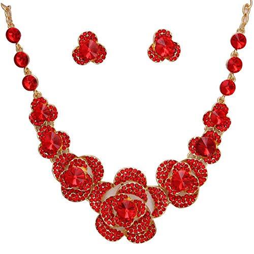 HMANE Conjunto de Joyas de Flores Rojas Retro Maxi Collar de Oro Pendientes de botón para Mujeres Conjuntos de Joyas de Boda India