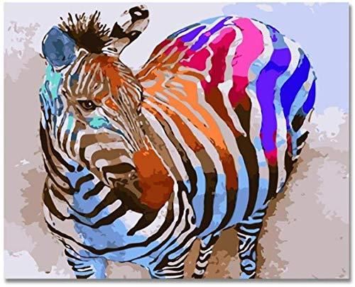 Pintura digital arco iris cebra imagen digital DIY pintado a mano animal pintura al óleo león figuras para colorear sobre lienzo para decoración del hogar 40x50 cm (con marco)