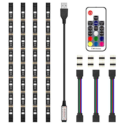 LED Strips Lights, 2M/6.6ft 5050 RGB LED TV Backlight met RF Afstandsbediening, Waterdichte USB Bias Verlichting kit voor 40-60 in TV, PC Monitor en Home Theater [Energie Klasse A+++]