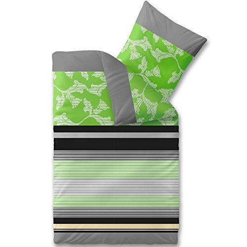Aqua-Textil Trend Imani Linge de lit Coton Rayures Fleurs Vert Gris Noir 155 x 220 cm