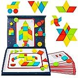 Montessori Puzzle en Bois Tangram Puzzle Magnetique Enfant Formes Géométriques Jeu Magnetique Motricité Puzzle Enfant Jouet Cadeau Educatif Enfants Fille Garcon 3 4 5 6 Ans