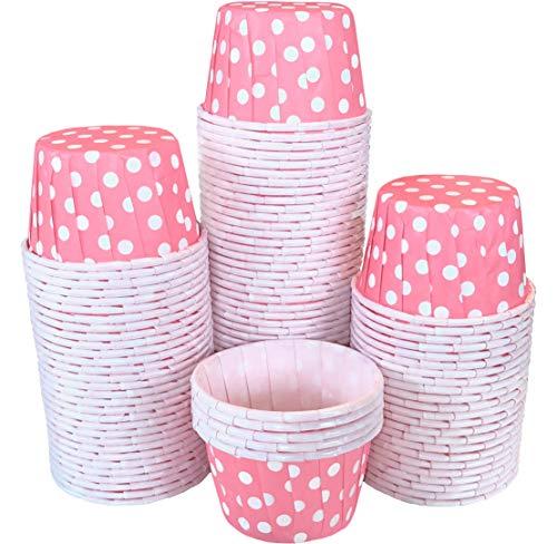 Bulk MINI Candy Nut Paper Cups - Mini Baking Liners - Pink White Polka Dot - 100 Pack