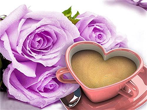 DIY 5D Diamond Pintura Kit Coffee Flower Redondo Diamond Painting Full Drill Crystal Rhinestone Adultos Child Lienzo De Punto De Cruz Bordado Arte Manualidades Decoración Hogar Regalo 70x100cm