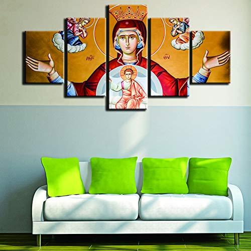 RMRM Marcos Modernos para Cuadros, lienzos Decorativos, 5 Paneles, Imagen de Pared de la Virgen María para decoración del hogar, Sala de niños 30x40cm 30x60cm 30x80cm