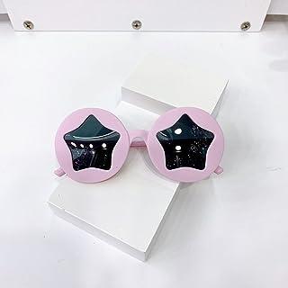 Akaid - Akaid Gafas de Sol, Moda Infantil, Estrellas Redondas, Azul, Amarillo, Rosa, niño, niña, Gafas