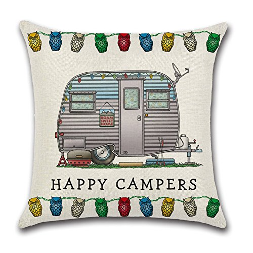 YANGYULU Cute RV Vintage Camper Travel Trailer Cotton Linen Home Decorative Throw Pillow Case Sofa Cushion Cover 18 x 18 (STYLE13)