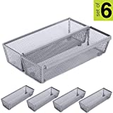 Smart Design Drawer Organizer - (9 x 3 Inch) - Steel Metal Mesh - w/Interlocking Arm Connection - Utensils, Flatware, Organization - Kitchen [Silver] - Set of 6