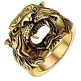 U7 Men's Punk Animal Signet Ring 18K Gold Plated Vintage Enamel Black Retro Tiger Head Ring -Size 10