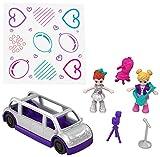 Polly Pocket Coffret Surprise-Party avec 2 mini-figurines et accessoires, autocollants et 5 surprises cachées, jouet enfant, FRY41