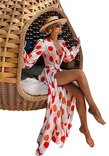 SLYZ Mujeres Europeas Y Americanas Moda Sexy Lunares Gasa Playa Vestido De Vacaciones Mujeres