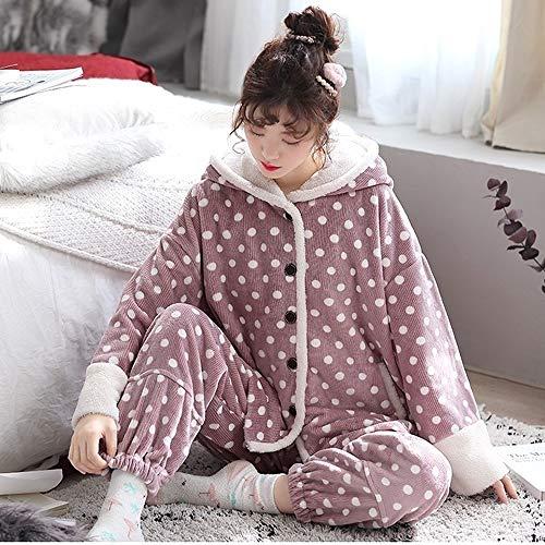 Albornoz Pijamas pijama de la mujer peluda Establece pijama de la mujer Loungewear de manga larga 100% algodón polar de coral pijama de dormir atractiva de moda Fleece pijamas de suave/caliente for