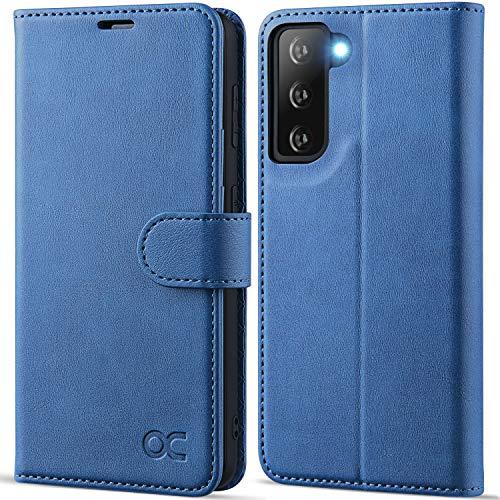 OCASE Custodia Samsung S21, Cover Samsung S21 Interno TPU Antiurto Portafoglio [RFID Blocking] [Carta Fessura] [Supporto Stand] Custodie in Pelle per Samsung Galaxy S21 (6,2 Pollici) - Azzurro