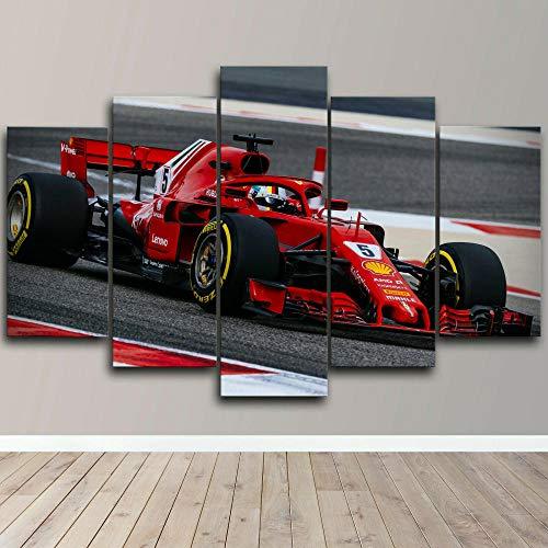 AWER Lienzos Cuadros Impresos F1 Ferrari Sebastian Vettel Racing Artística Imagen Gráfica Wall Art Panel Cuadros Modernos Decorativo para Tu Salón o Dormitorio 5 Piezas 150x80cm
