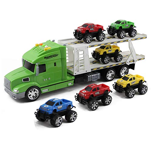 Vokodo Toy Semi Truck And Trailer 20 Inch Push And Go With Lights And Sounds Includes 6 Pickup Cars Kids Big Rig Auto Carrier Vehicle Pretend Play Great Gift For Preschool Children Boys Girls Toddlers