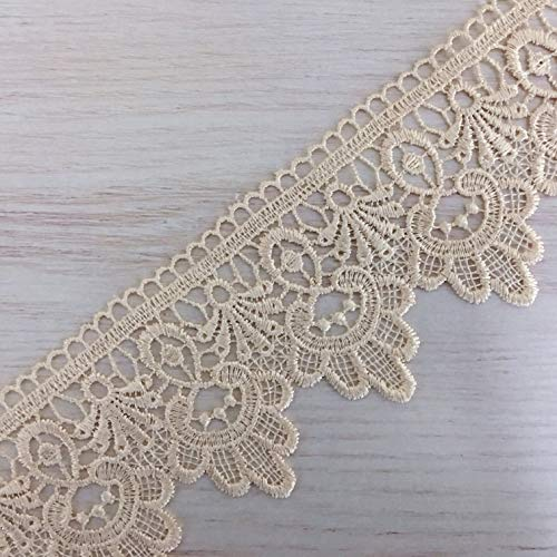7 Yards Wide Lace Trims Lace Ribbon by The Yard Floral Vintage Crocheted Lace Trimming for DIY Sewing Craft Supply, Gift Wrapping, Bridal Wedding Decorations, Curtain, Sofa, Quilt (Apricot)
