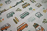 Deko Canvas Stoff Deko Wolfsburg VW-Bulli T1peace love surf