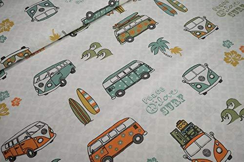 Deko Canvas Stoff Deko Wolfsburg VW-Bulli T1peace love surf orange grün Swafing Baumwollstoff 0,5m