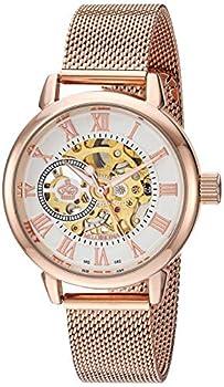 Sweetbless Wristwatch Women' s Analog Roman Number Steampunk Skeleton Self-Wind Auto Mechanical Watch Rose-Gold