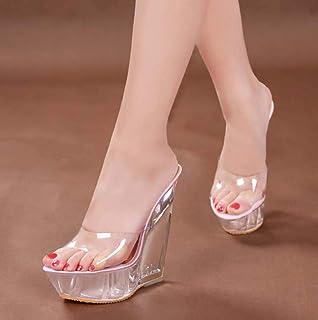 Transparent Womens Platform Mules,Ladies Wedge Heel Peep Toe Sandals Dress/Party/Pumps